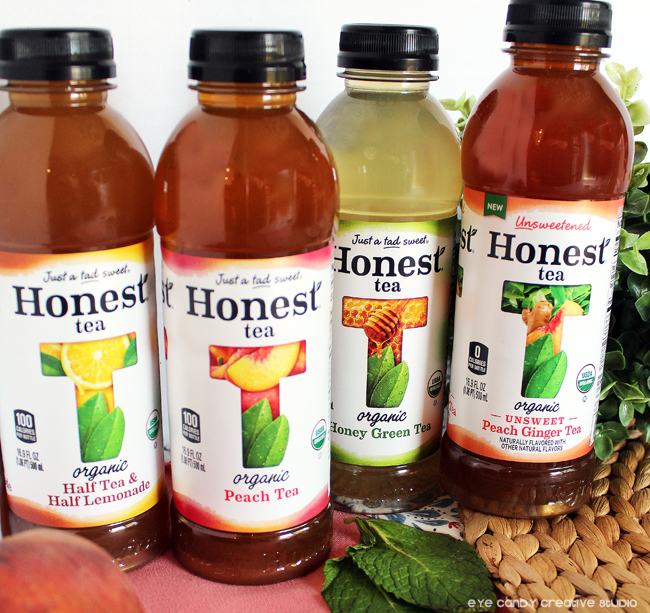 Honest Tea flavors, peach tea, honey green tea, half tea & half lemonade