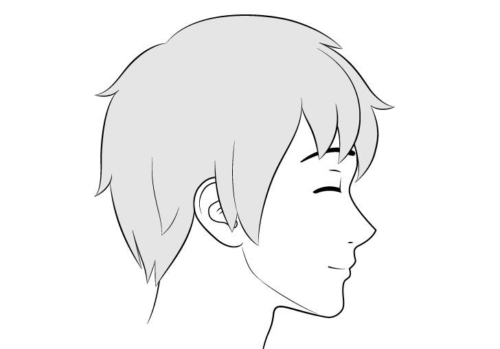Gambar ekspresi konten tampilan sisi wajah pria anime
