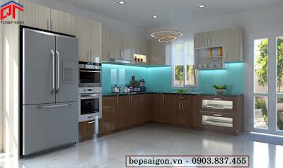 tu bep, tủ bếp acrylic, tủ bếp màu vân gỗ, tủ bếp hiện đại