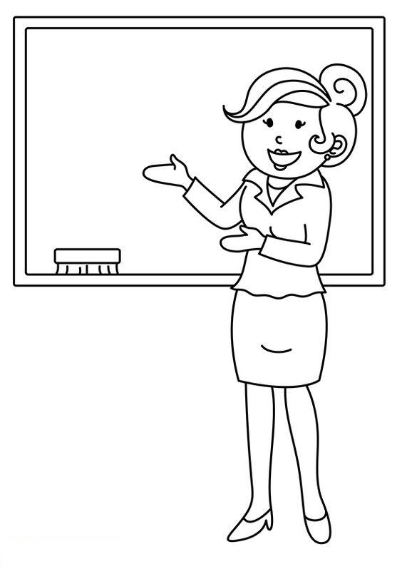 Tranh tô màu cô giáo giảng bài vui