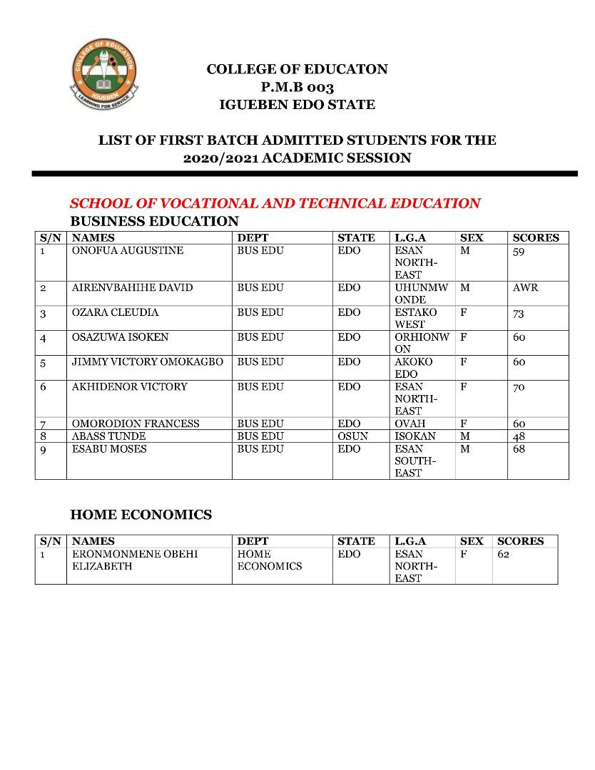 COE Igueben Admission List 2020/2021 | 1st Batch