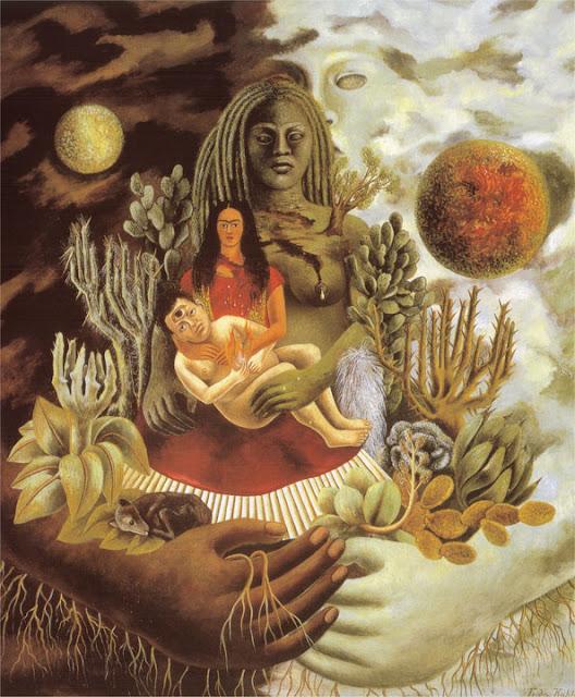 Фрида Кало - Дружеские объятия вселенной, земли (Мексики), Я, Диего и Синьйор Холотл. 1949