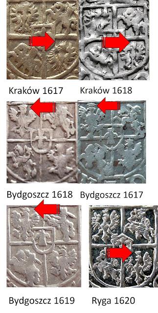 Roczniki półtoraków, gdzie występują orły w koronach