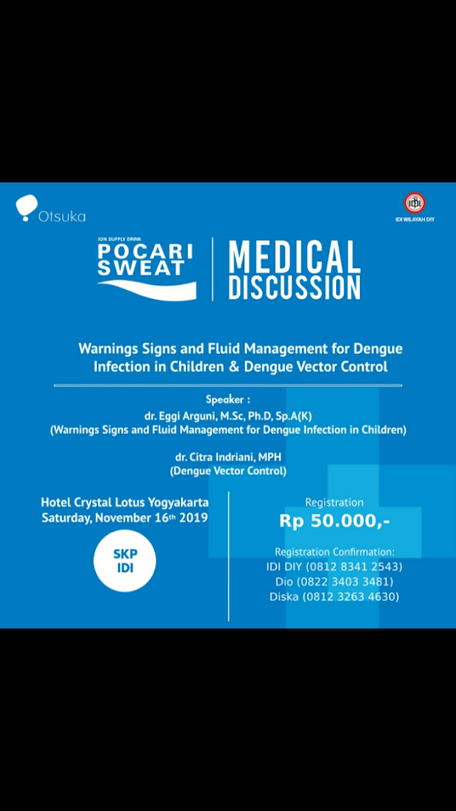 Pocari Sweat Medical Discussion 2019 ada lagi dengan tema *Warnings Signs and Fluid Management For Dengue Infection In Children & Dengue Vector Control* . Kegiatan ini akan diselenggarakan pada :  🕰 Hari/ Tanggal  : Sabtu, 16 November 2019 (08.00 AM - selesai)