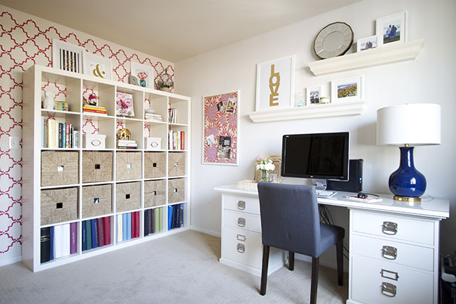 office, feminine office, interior design, den, love print, lamp, pottery barn desk, ikea expedite
