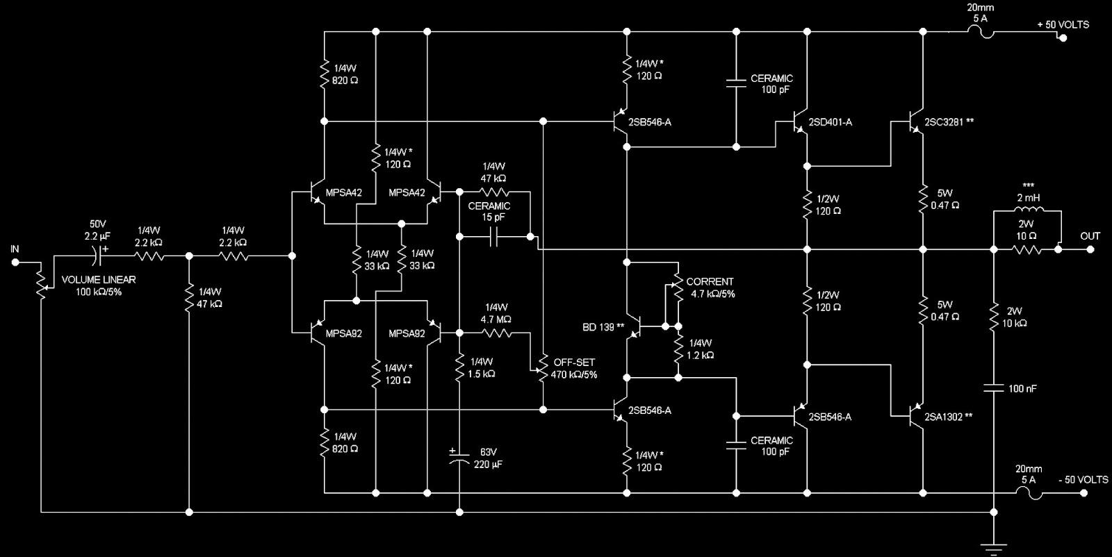 200 Watt Amp Mosfet Amplifier Schematic Using Philips Transistors