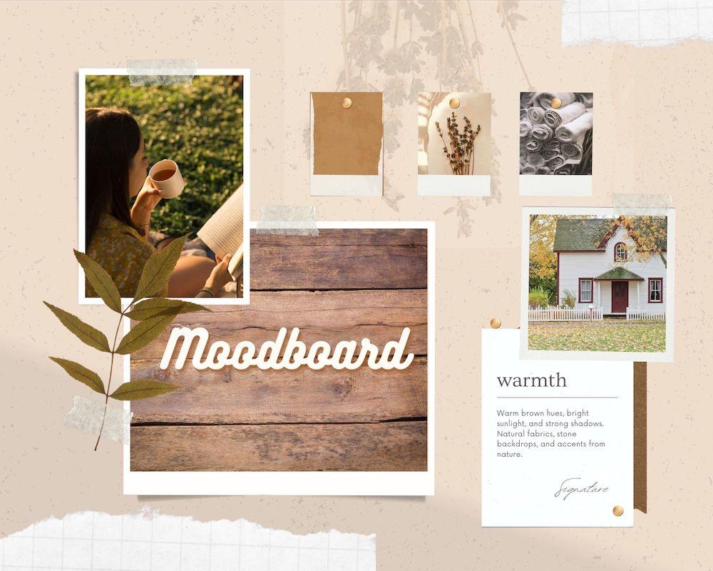 Esimerkki moodboard luonnonläheiset sävyt ja ruskeaa puuta ja erilaisia tekstuureja.