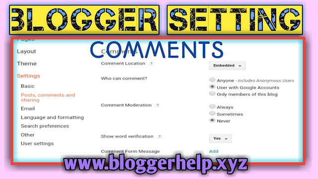 How to comment setting of my blog