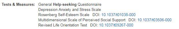 tests field in PsycInfo