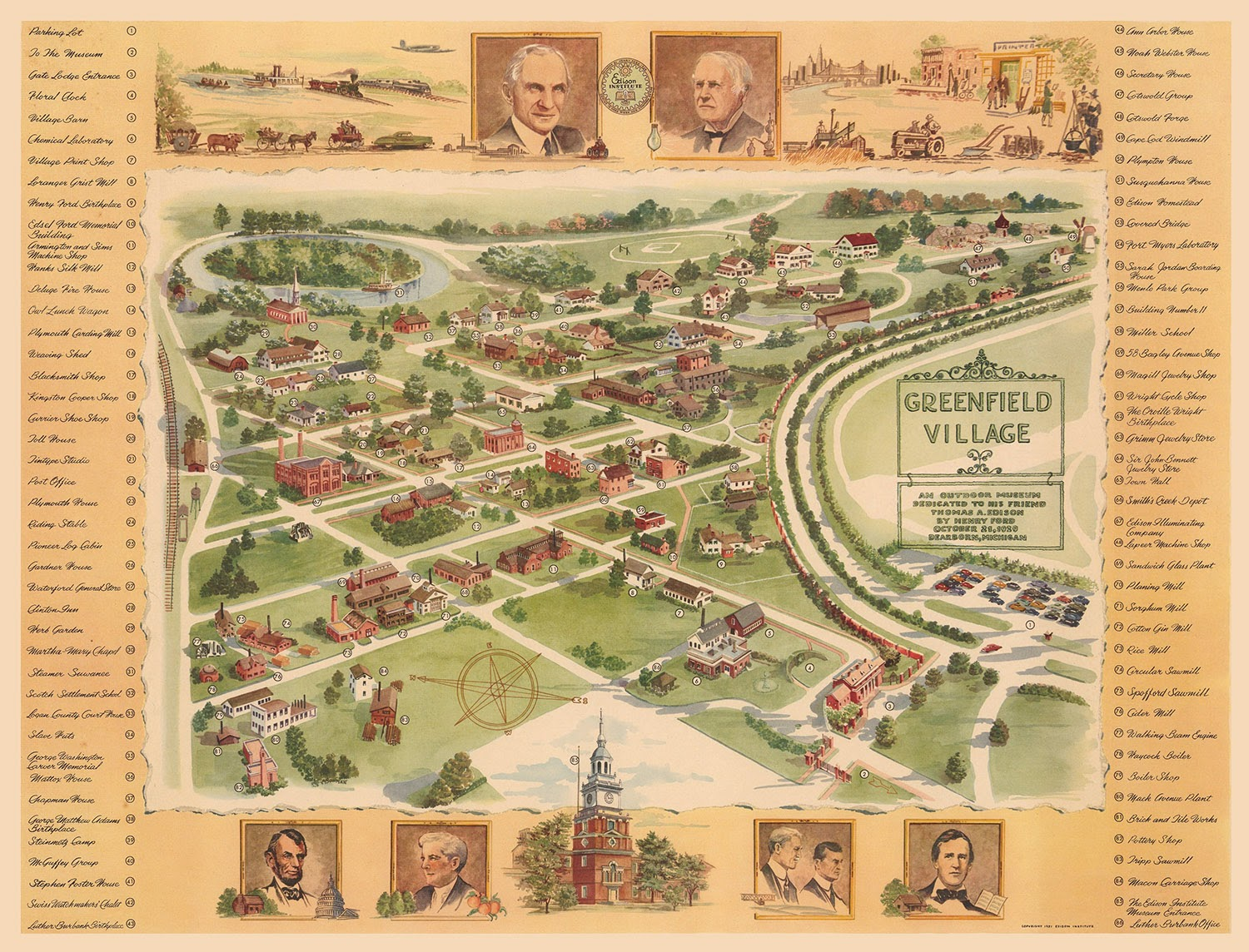 Greenfield Village Map GORILLAS DON'T BLOG: Greenfield Village, 1954 Greenfield Village Map
