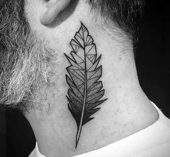 Neck Feather Tattoo
