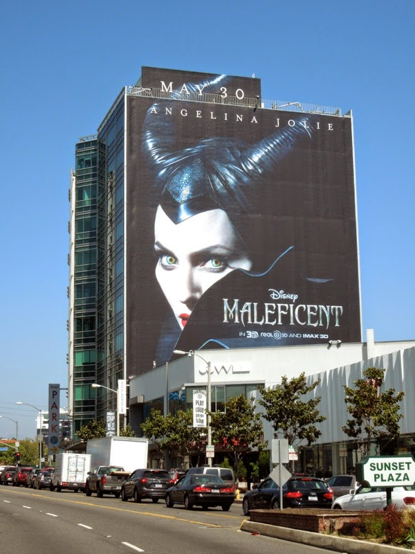 Giant Maleficent movie billboard Sunset Strip