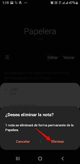 Samsung Notes Eliminar notas en la papelera