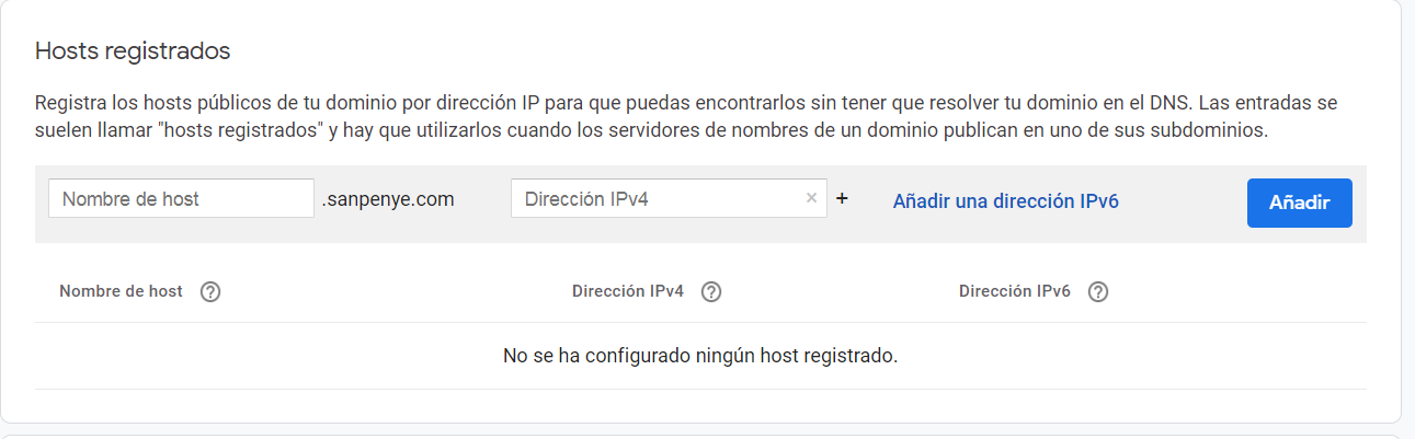 host registrados