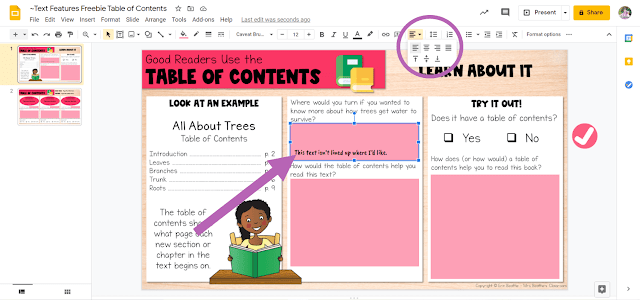 Screenshot depicting how to change text alignment in Google Slides file