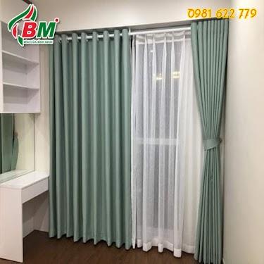 rèm vải xanh sáo nhẹ nhàng cho phòng khách  phòng ngủ đẹp rẻ tại đồng xoài.