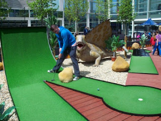 The Golf Attractions Dinosaur Adventure Golf course at the Centre MK in Milton Keynes