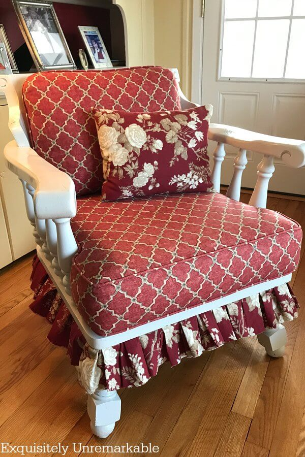 Skirted Scrap Fabric Chair completed in living room
