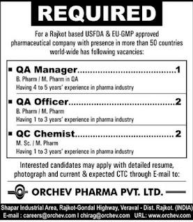 Orchev Pharma Pvt. Ltd. Jobs Vacancy For B. Pharm/ M. Pharm/ M. Sc Candidates For  Rajkot, Gujarat Location