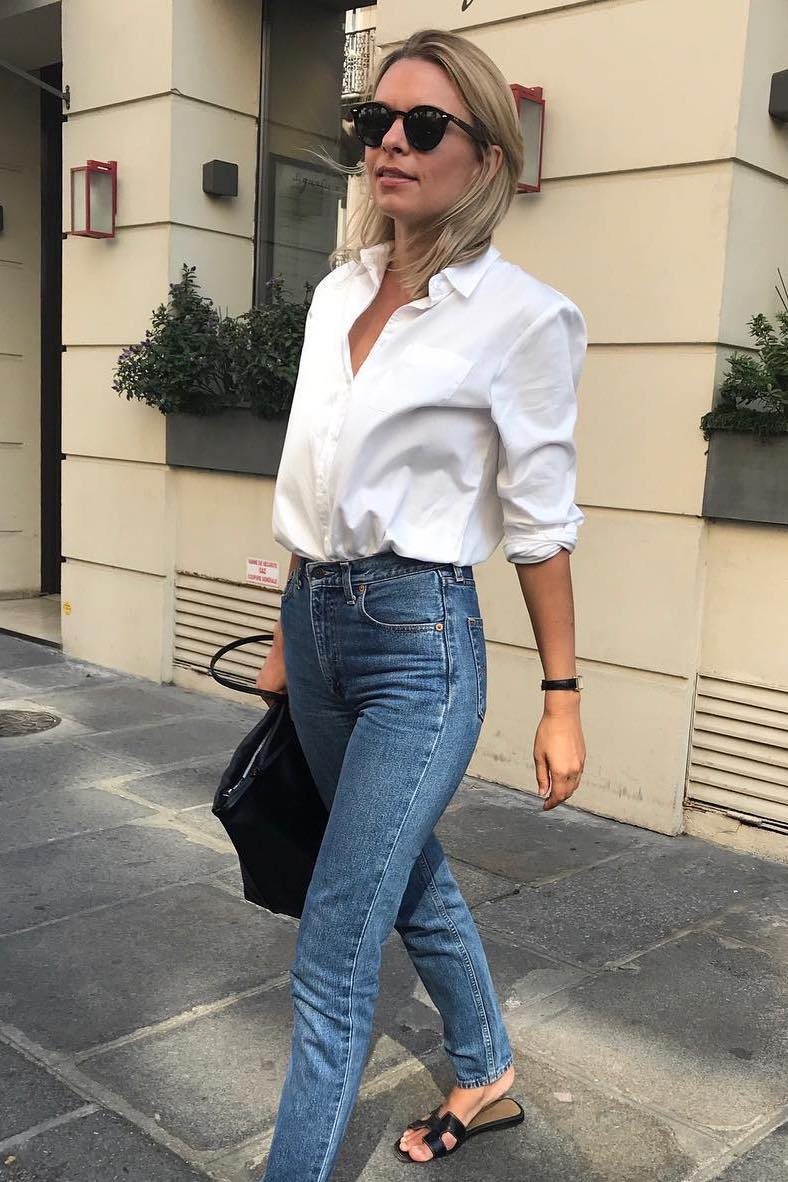 French Girl Spring Outfit Idea — white button-down shirt, slim jeans, and Hermes black flat slide sandals