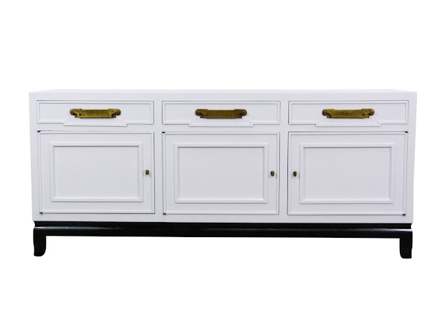 Hollywood Regency, Fancher White Enamel Chinoiserie Sideboard, vintage