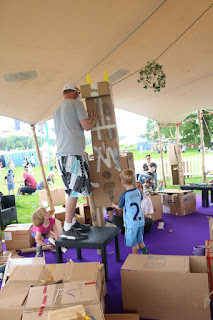 The biggest people did some playing too - this is a giraffe that was almost as tall as the tent! The children participated, but even the adults admitted that this was their giraffe and not the kid's.