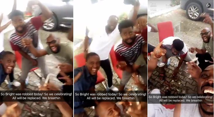 "Dafuq? Basketmouth & friends ""celebrate"" his robbery incident"