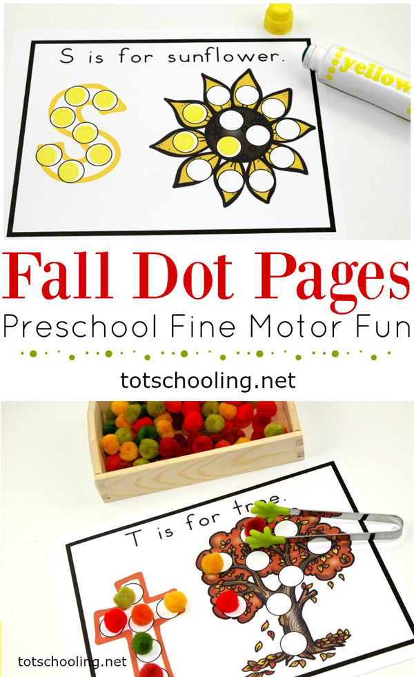 FREE printable Fall themed do-a-dot marker sheets for toddlers and preschoolers to practice letters and letter sounds as well as fine motor skills!