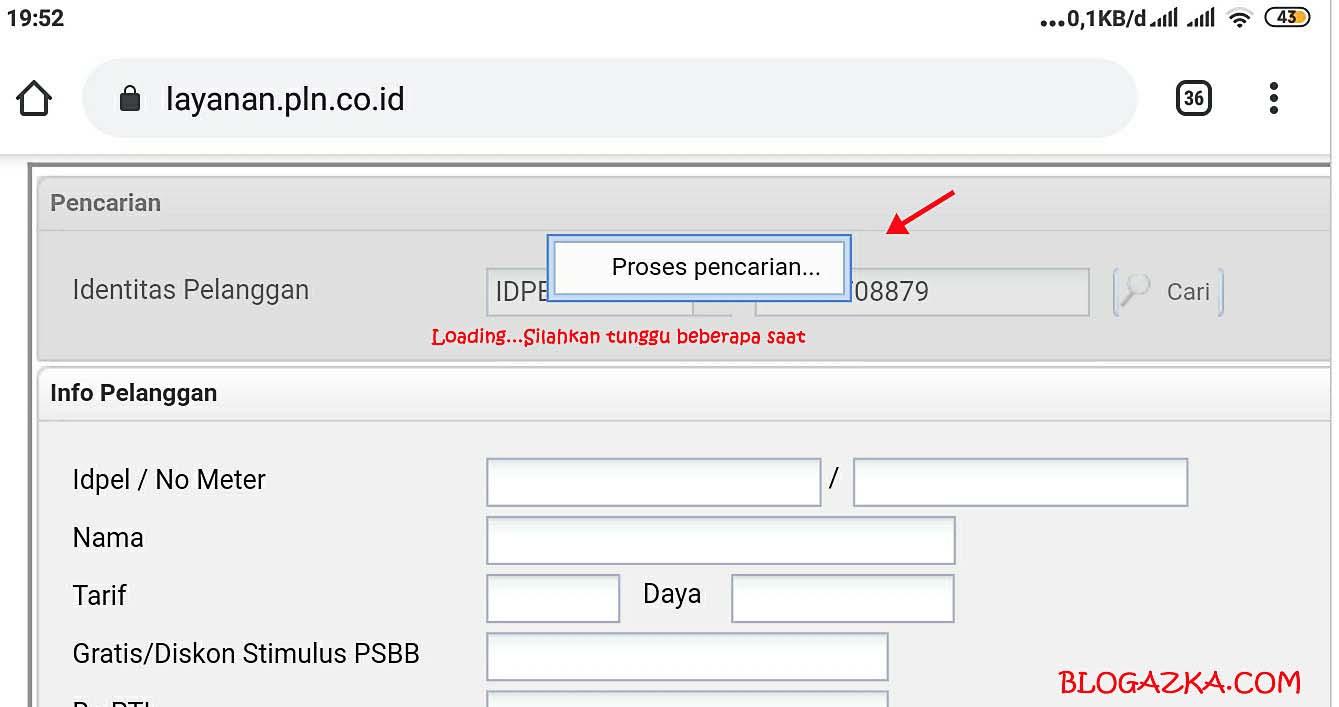 Proses pencarian ID pelanggan