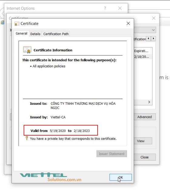 Hình 6 - Thông tin thời hạn chữ ký số Viettel trên IE
