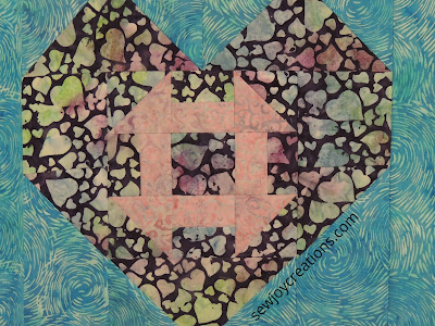 Love and Kisses fabric Heart and Churn quilt pattern