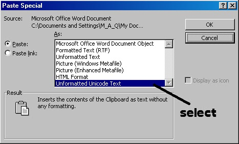 paste plain text in word without format