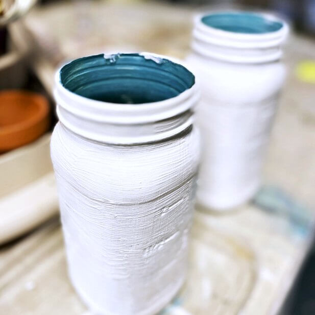 Painted Mason Jars with a Transfer