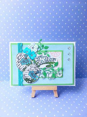 Turkusowo-zielono z pisankami i kwiatami