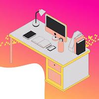 Office setup of a graphic designer