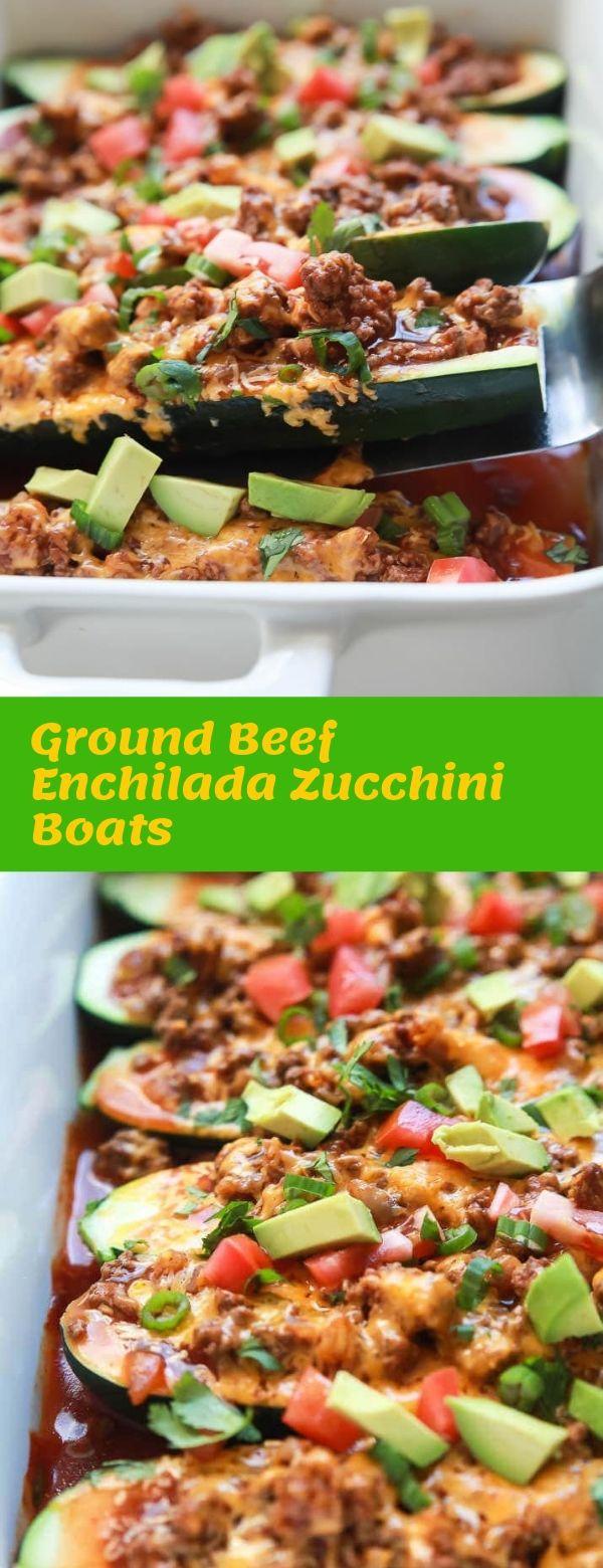 Ground Beef Enchilada Zucchini Boats #healthyrecipe #enchilada #beef #dinner
