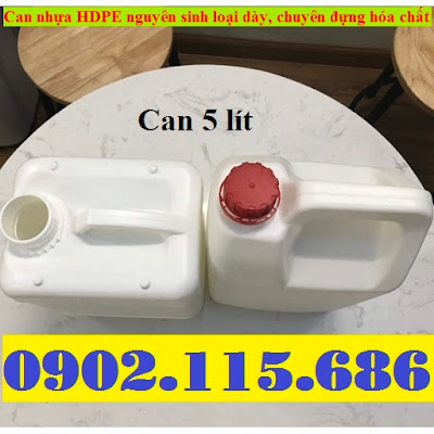 Bán can đựng hóa chất, can nhựa 5 lít, can 5 lít đựng hóa chất, vỏ can nhựa 5 lít, 0