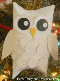 DIY ornaments, snow owls, woodland ornaments