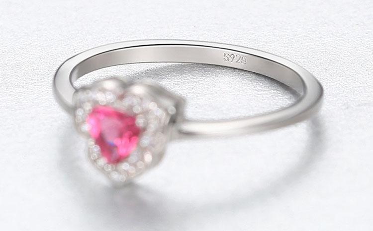 唯美三瓣花朵人造寶石 925純銀戒指