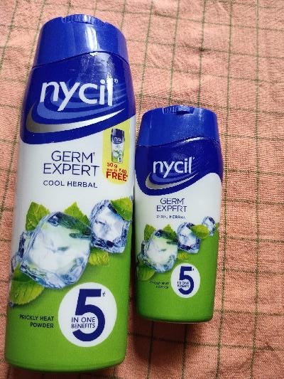 Nycil Cool Herbal Powder - 150g and 50g bottle costing INR 110/-