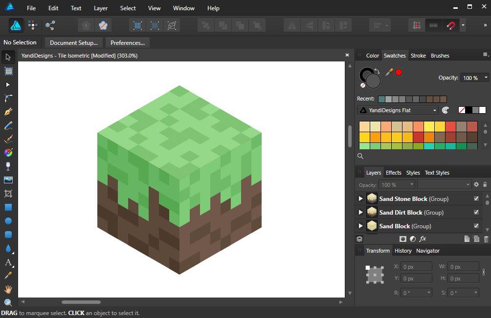 How To Make Flat Isometric Block like Minecraft Affinity Designer