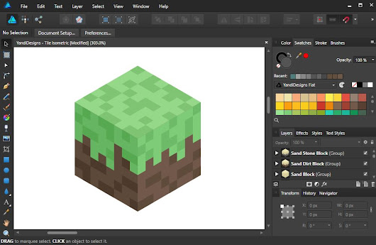 How To Make Flat Isometric Block like Minecraft Affinity Designer - YandiDesigns