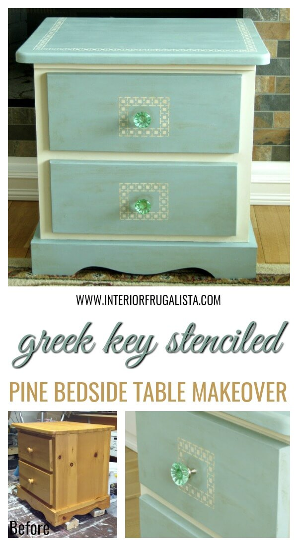 Greek Key Pine Bedside Table Before And After