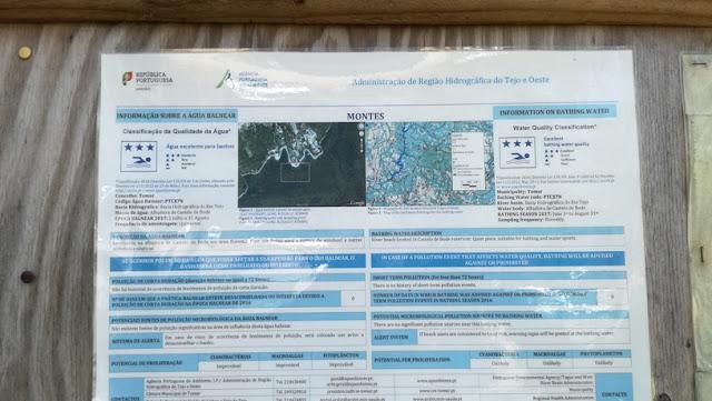 painel de Informações sobre a Praia fluvial de Montes