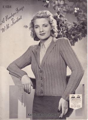 1930s vintage knitting pattern; Penelope; Wm Briggs; mistake rib; jacket; Kwiknit