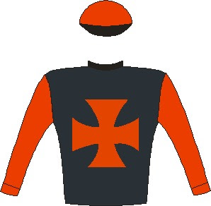 It's My Turn - Jockey Silks -  Black, red maltese cross and sleeves, red cap, black peak - Horse Racing - South Africa