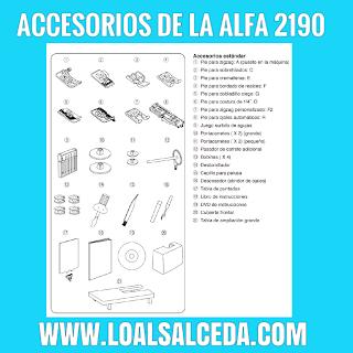 Accesorios de la maquina de coser Alfa 2190