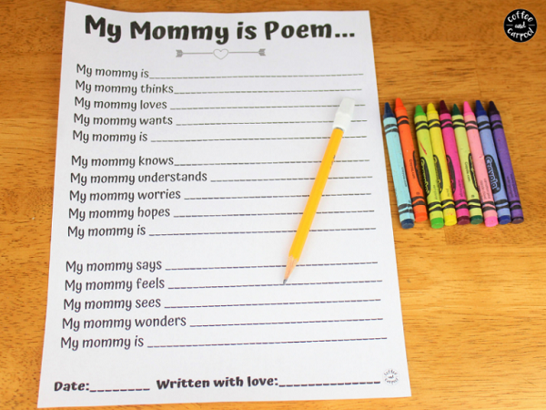 My mommy is poem template for Mother's Day