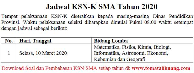 jadwal ksn-k sma 2020 tingkat kabupaten kota; tomatalikuang.com