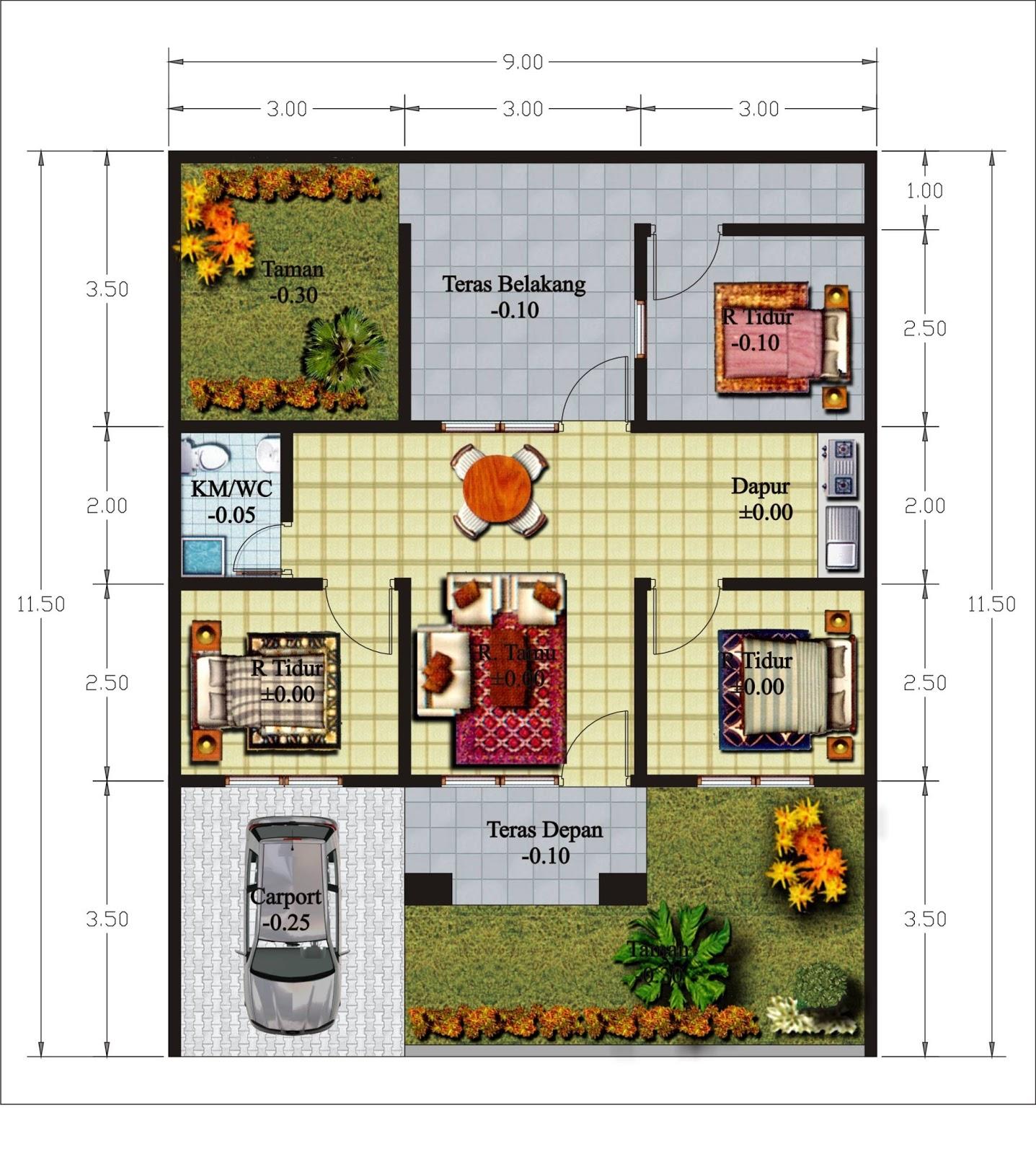 gambar denah rumah sederhana lengkap 4